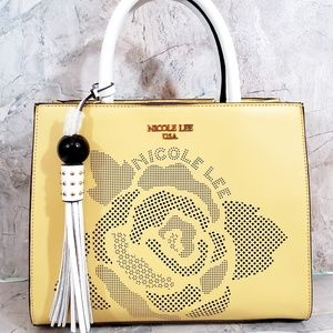 Nicole Lee Abstract Rose Print Pastel Yellow Bag
